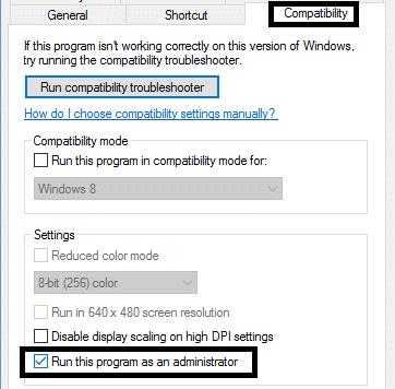 compatibility tab