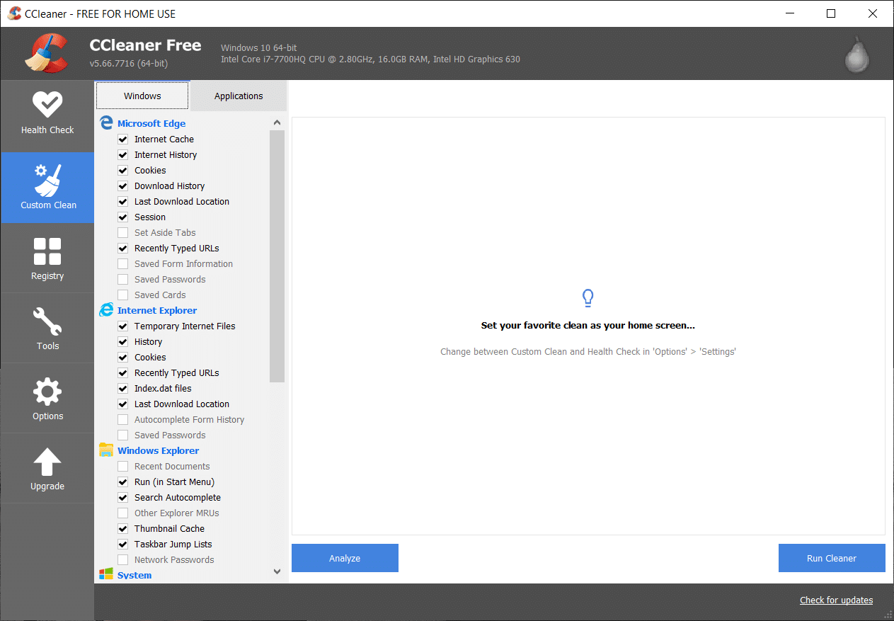 Launch the application and from the left-hand side menu, select Custom