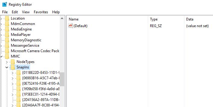 MMC snap ins registory editor
