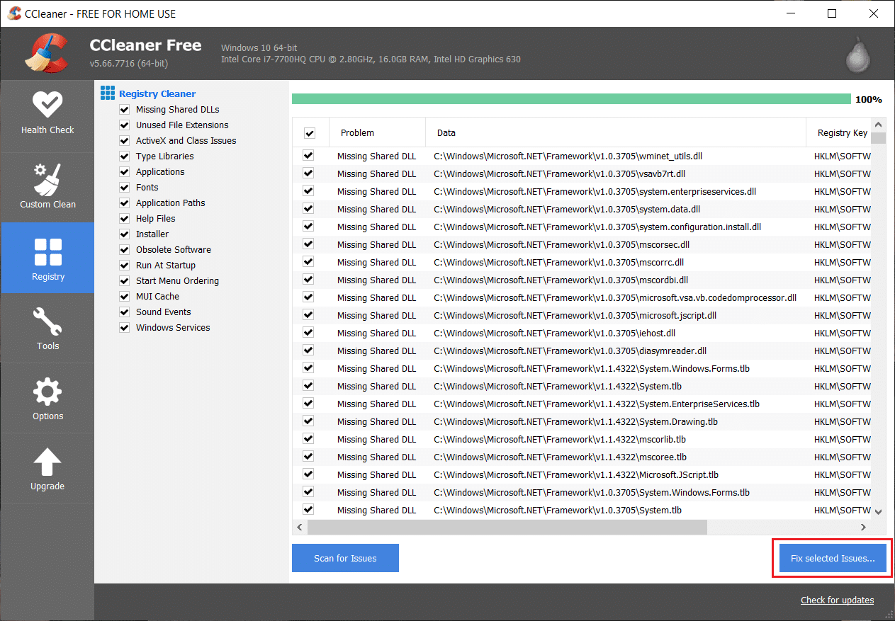 Once the issues are found, click on Fix selected Issues button