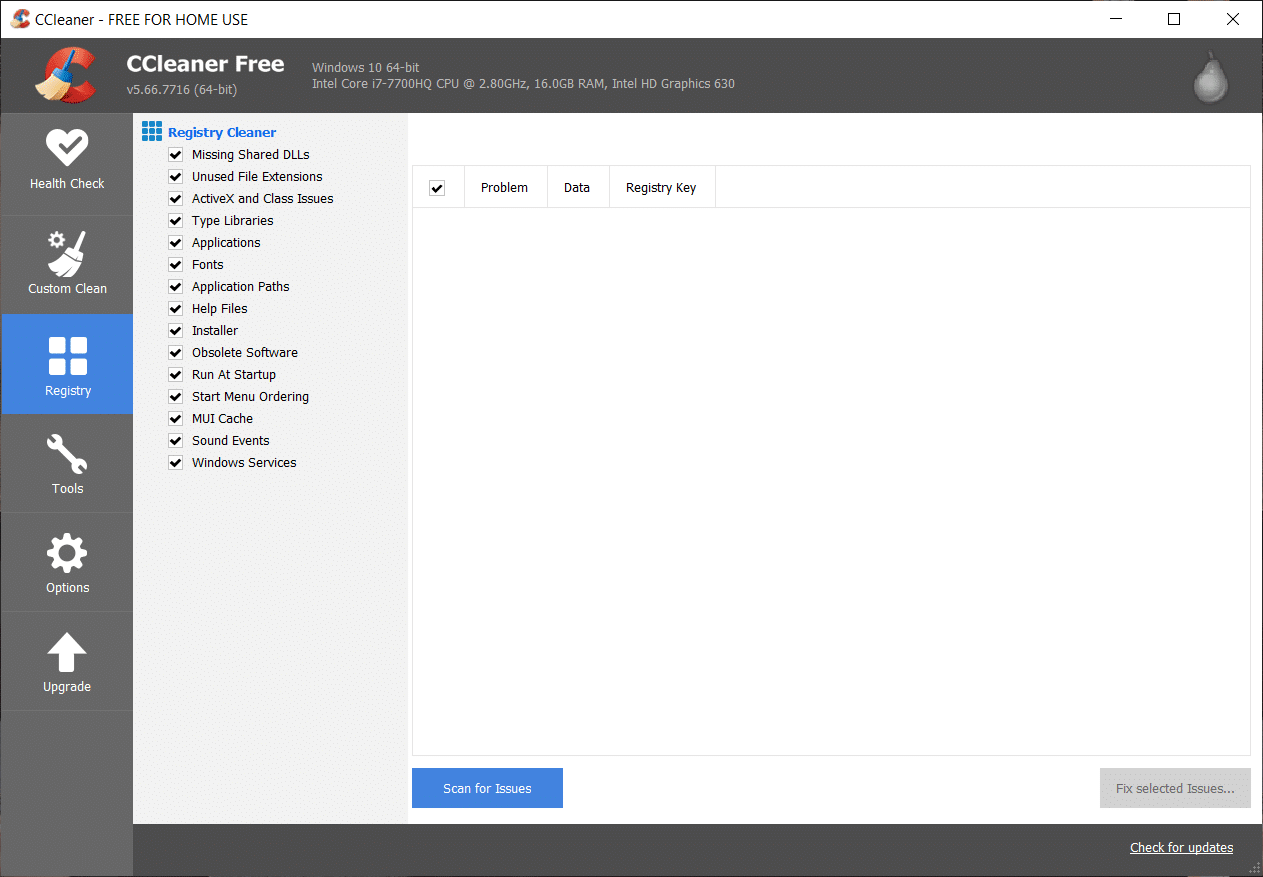 To clean your system further, select the Registry tab, and ensure the following are checked