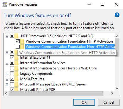 turn on .net framework