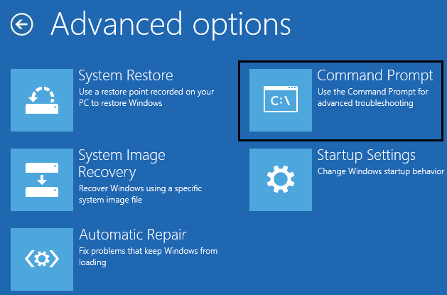 Command prompt from advanced options | 9 Ways to Fix Non-System Disk or Disk Error Message