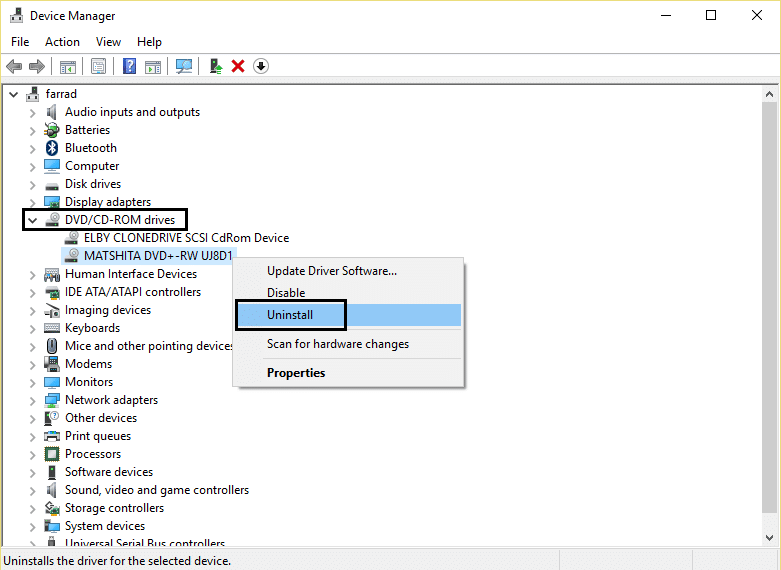 DVD or CD driver uninstall
