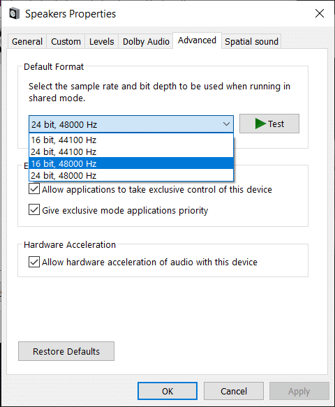 Now from the Default Format drop-down try changing to different format