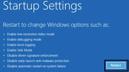 Restart from startup setting window