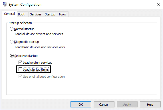 Perform Clean boot in Windows. Selective startup in system configuration