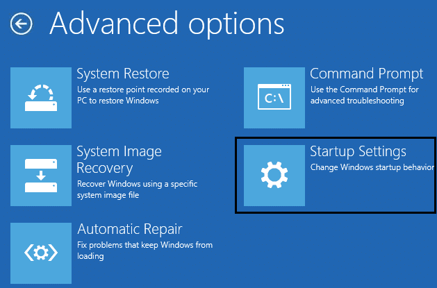 Startup setting in advanced options