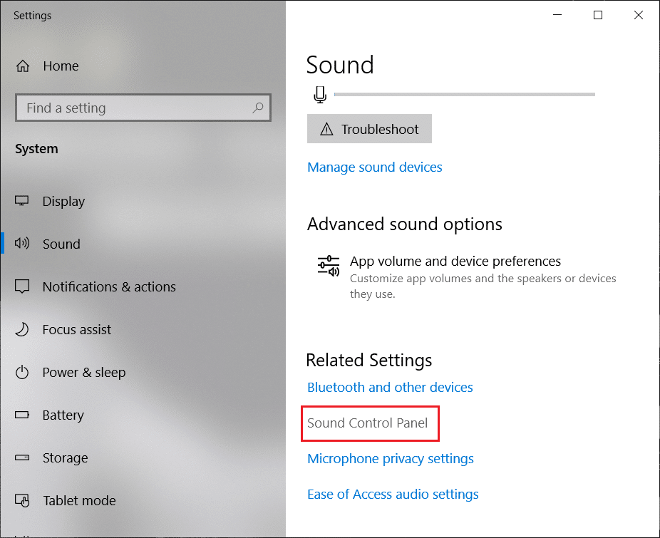 Under Related Settings click on Sound Control Panel | Fix Headphones not working in Windows 10