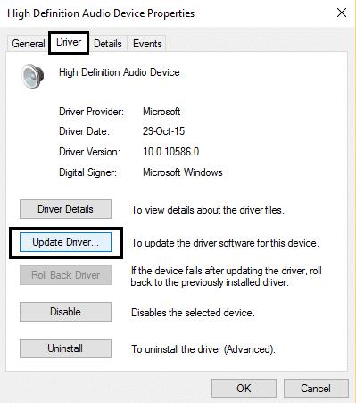 Update driver sound
