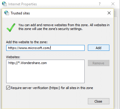 add trusted websites