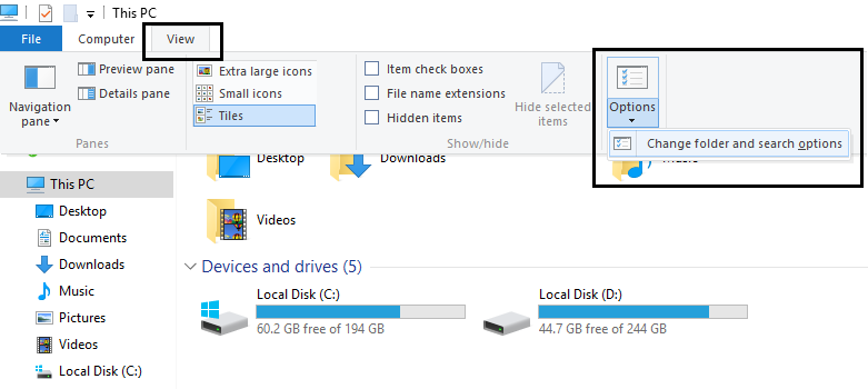change folder and search options | Clear Your File Explorer Recent Files History in Windows 10