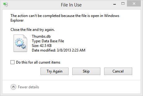 fix Folder in use The action can't be completed Error