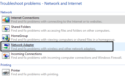 select Network Adapter from network and internet