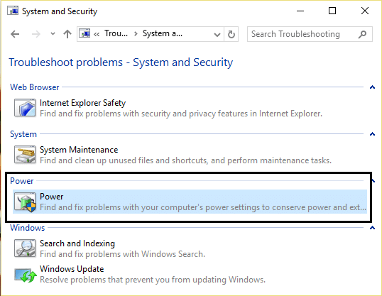 select power in system and security troubleshooting