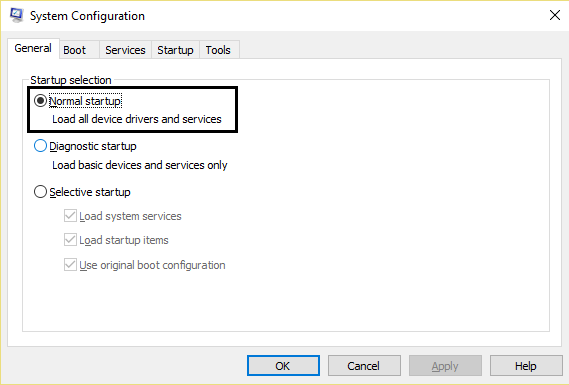 system configuration enable normal startup