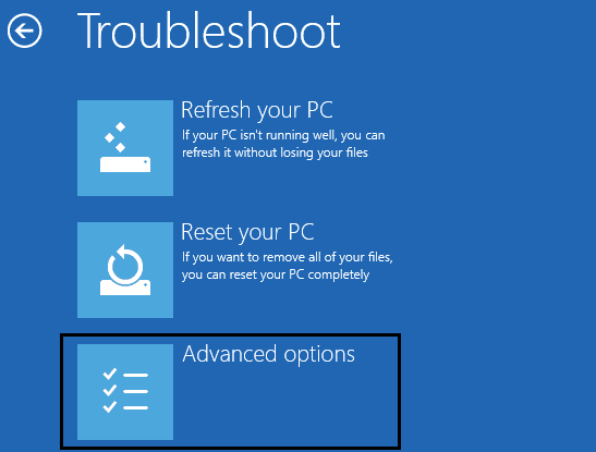 troubleshoot from choose an option
