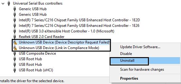 USB mass storage device properties