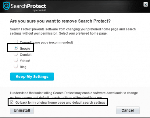 uninstall search protect