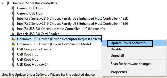 Fix USB Device Not Recognized. Device Descriptor Request Failed