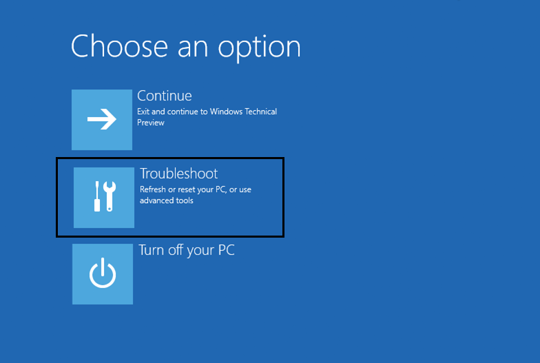 Choose an option at windows 10 automatic startup repair