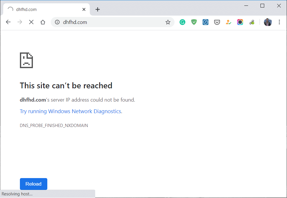 Fix This site can't be reached error in Google Chrome
