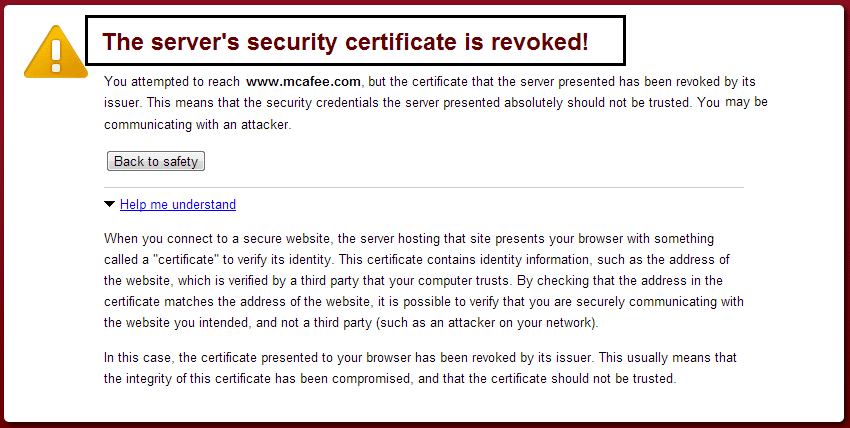 How to fix Server's certificate has been revoked in chrome