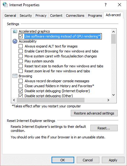check mark use software rendering instead of GPU rendering internet explorer
