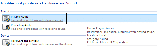click on playing audio in troubleshoot problems