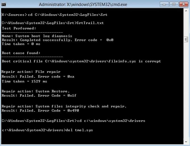 delete the boot critical file giving error