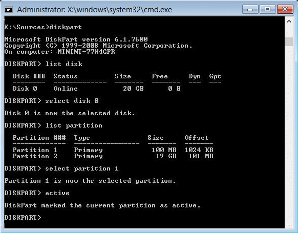 mark active partion diskpart | A disk read error occurred [SOLVED]