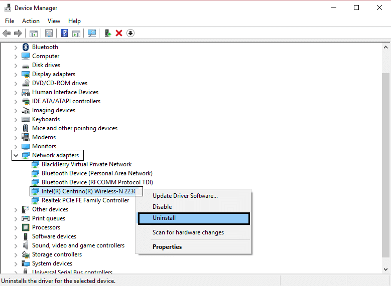 network udapter uninstall wifi