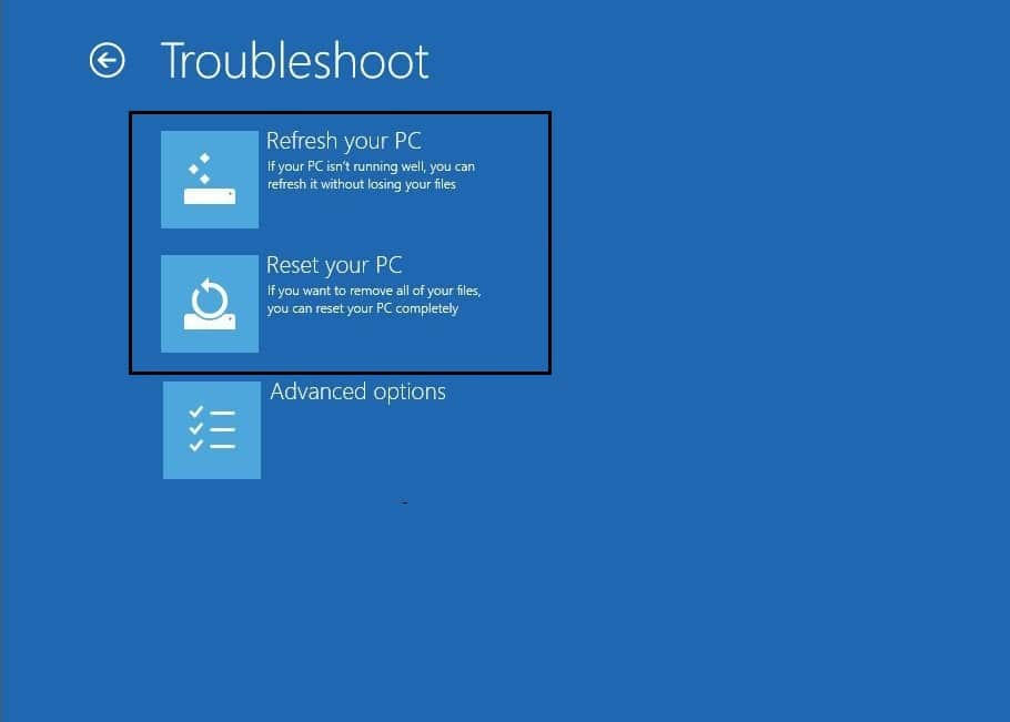 select refresh or reset your windows 10