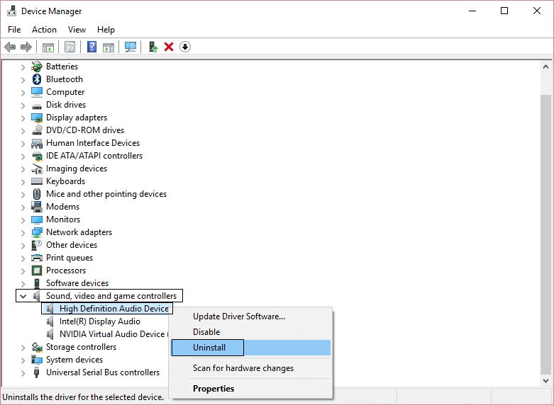 uninstall sound drivers from sound,video and game controllers
