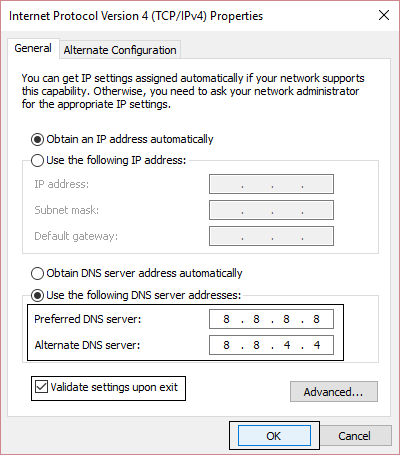 use the following DNS server addresses in IPv4 settings | Fix ERR_CONNECTION_TIMED_OUT Chrome error