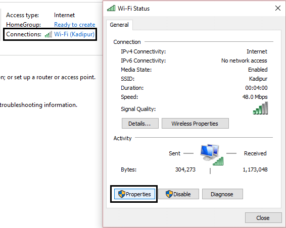 wifi connection properties
