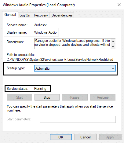 windows audio services automatic and running