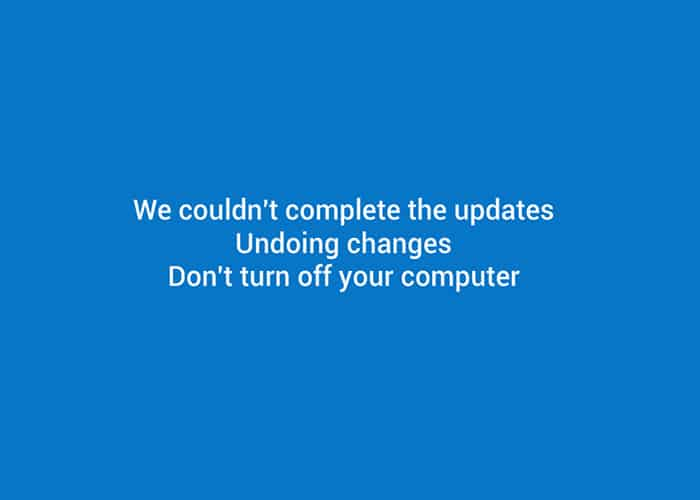 We couldn't complete the updates, Undoing changes