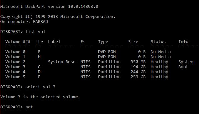 disk part commands