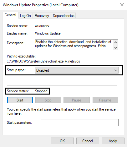 stop windows update and set startup type to disabled