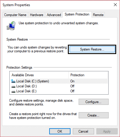 system restore in system properties