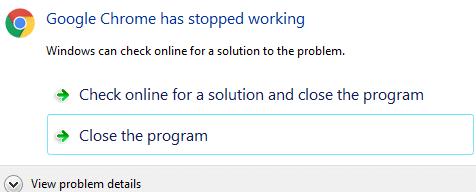 Fix google chrome has stopped working Error