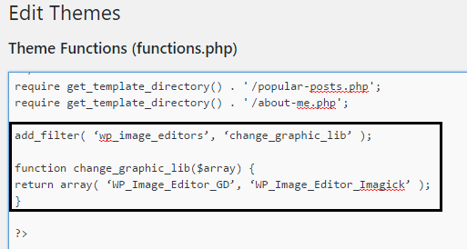Theme functions file edit to make gd editor as default