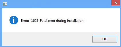 Fix Error 1603 A fatal error occurred during installation