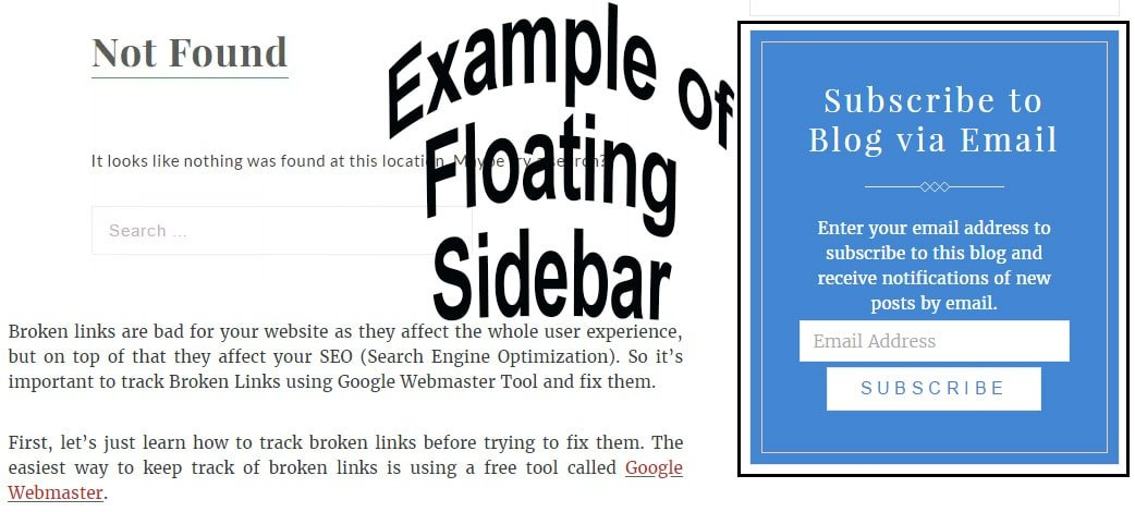 How to Add a Floating Sidebar in Wordpress