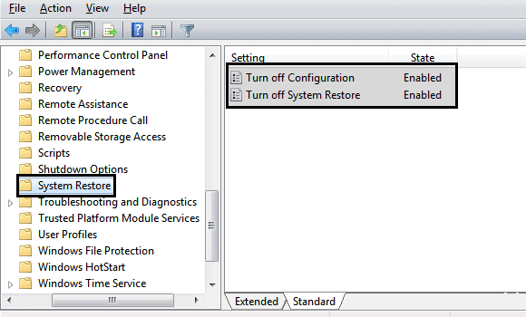 Turn off System Restore settings gpedit