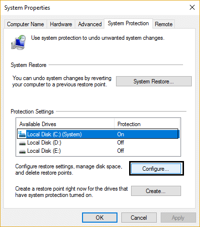 system protection configure system restore