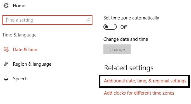 Click on Additional date, time, & regional settings