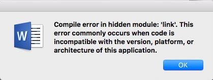 Fix Compile error in hidden module using Word for Mac