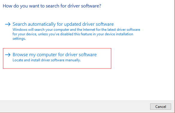 browse my computer for driver software | Fix Keyboard Not Working on Windows 10